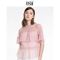 【折后叠券价:60】OSA欧莎2019夏装新款女很仙的蕾丝上衣洋气短袖雪纺衫设计感薄