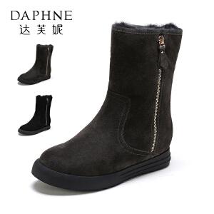 Daphne/达芙妮冬女加厚侧拉链平底雪地靴女靴