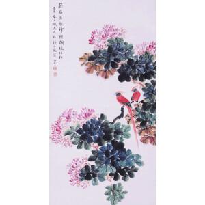 花鸟画家 颜伯龙《胭脂双寿图》
