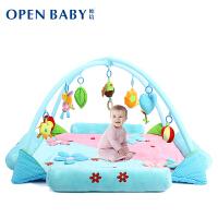 欧培 婴儿音乐游戏毯爬行垫 爬行健身架游戏垫 蓝花款 送席子+蚊帐