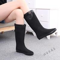 新款磨沙搭扣黑色雨鞋亮片防水靴子中高筒女士雨靴 黑色