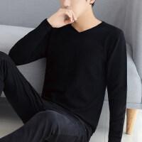 秋冬男士长袖T恤韩版V领针织衫潮流男装上衣服学生薄款毛衣打底衫