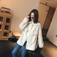 冬季外套女加绒加厚短款羊羔毛绒外套羊毛羔韩版宽松冬装女夹克