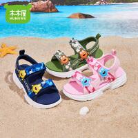 木木屋儿童2021夏季凉鞋男童露趾沙滩鞋女童防滑凉鞋中大童鞋子