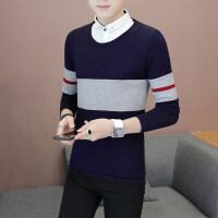 秋款假两件毛衣男潮流韩版衬衫领针织衫青少年休闲有领毛衣打底衫