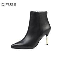 D:Fuse/迪芙斯秋冬款羊皮尖头拉链金属细高跟短靴DF74116028