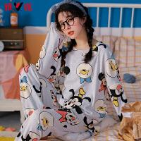 雅鹿睡衣女秋季纯棉舒适卡通甜美风长袖家居服套装