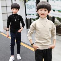 儿童毛衣男童高领韩版秋冬款女针织打底衫黑色棉套头线衣