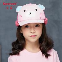 卡蒙3-6岁儿童鸭舌帽卡通造型女童冬季帽子护脖加厚保暖多色拼接 4673