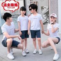 亲子装夏新款一家三口短袖短裤休闲套装母子母女装运动家庭装