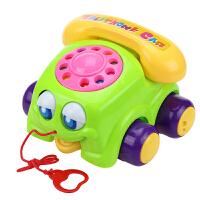 牵拉玩具 宝宝学步拖拉玩具 拉线大眼睛电话 手推拉绳 婴儿6月1-3岁