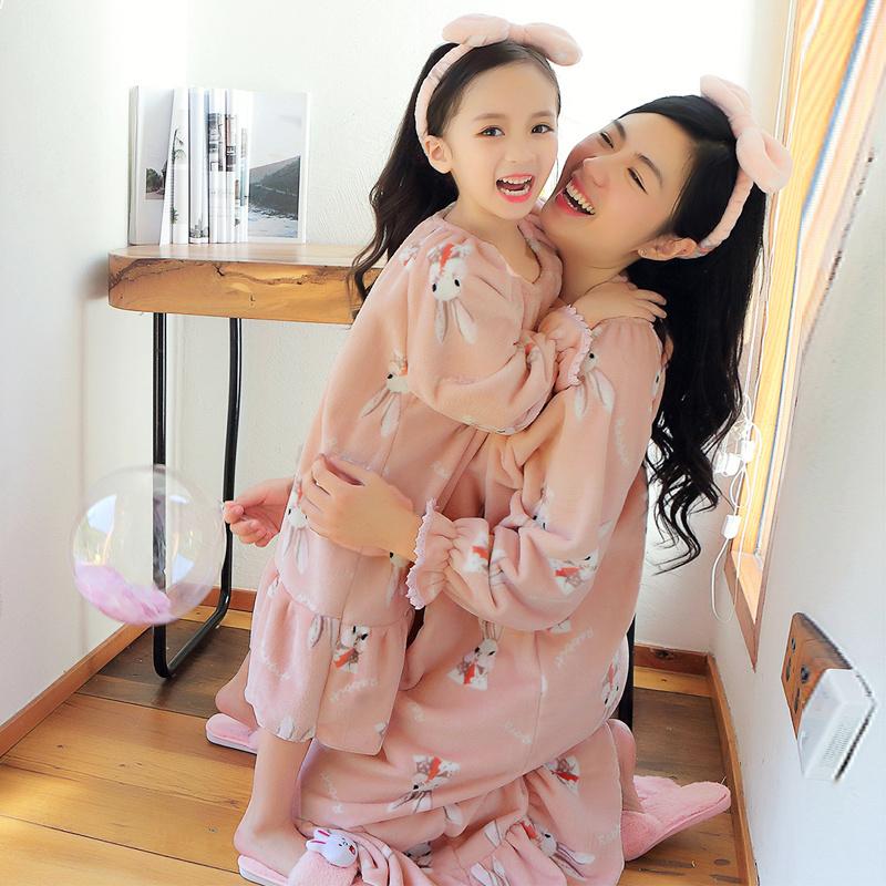 儿童珊瑚绒睡裙秋冬季女孩公主女童长袖厚长款法兰绒亲子睡衣