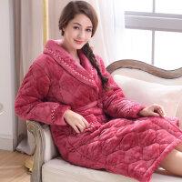 冬季三层女加厚加长款睡袍情侣夹棉珊瑚绒保暖绒浴袍男士睡袍睡衣