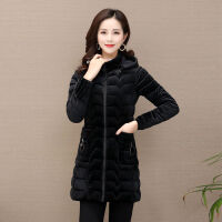 冬装棉衣女中长款中老年妈妈装修身加厚连帽棉袄特 黑色 1818款 XL 体重90斤以内穿