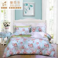 【新春上新】富安娜家纺 馨而乐纯棉四件套全棉斜纹简约床品床单小清新被套