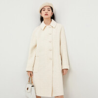 伊芙丽毛呢外套女2020冬季羊毛大衣单排扣时尚亮丝长款双面呢