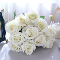 仿真花艺 红玫瑰花束仿真花假花装饰摆件摆设防真花艺客厅餐桌绢几单支