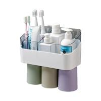 免打孔牙刷架浴室置物架洗漱套装 壁挂漱口杯化妆品收纳架