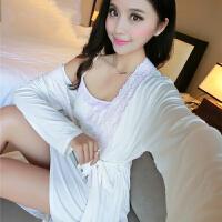情趣内衣性感睡衣女诱惑秋冬长袖吊带睡裙女蕾丝两件套 9149白色 160(M) 2层