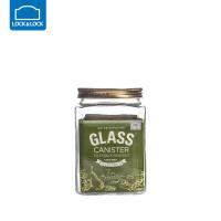 乐扣乐扣杂粮储物罐大号玻璃密封罐收纳罐子玻璃瓶子带盖厨房家用方形1.7L