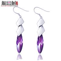 相思树 925纯银菱形方块紫水晶耳环时尚韩国长款气质女耳坠