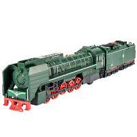 火车模型蒸汽机车合金车模蒸汽火车模型儿童玩具火车声光回力车模 绿色【盒装】