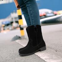 彼艾2017秋冬新款欧美磨砂女靴子平底短靴女低跟中筒马丁靴女靴子