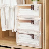 抽屉式收纳柜透明塑料收纳箱衣柜储物箱衣物收纳盒儿童收纳整理箱 1545棕2个装22L 5115 比格系