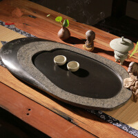 原创椭圆形乌金石雕茶盘整块石茶台直销石茶盘托盘石头茶台