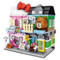 LOZ/俐智小颗粒积木迷你街景益智拼插男女孩子积木玩具街景商业街系列2款组合装