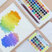 日本樱花固体水彩套装24色透明水彩颜料36色樱花写生水彩48色学生便携彩绘颜料72色初学者手绘珠光画绘画工具