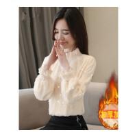 2018秋冬新款韩版女装灯笼袖半高领加绒加厚蕾丝打底衫保暖上衣潮