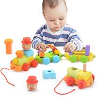 1-2-3岁男孩积木绕珠儿童木质小火车女宝宝拖拉玩具