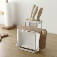 刀架厨房用品收纳架砧板架多功能厨房置物架刀具刀座菜板架架 白色(铁艺+榉木) 图片色