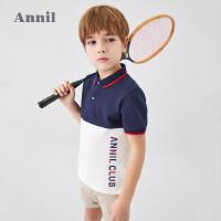 【3件3折】安奈儿童装男童POLO衫短袖2020新款透气撞色翻领休闲男生T恤夏装4