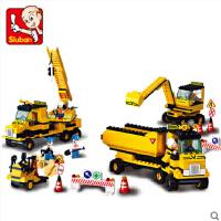 小鲁班拼装积木男孩启蒙拼插挖掘机玩具模型积木类益智儿童5-6岁
