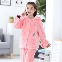 儿童睡衣珊瑚绒冬季女孩子宝宝套装冬款小孩女孩法兰绒家居服