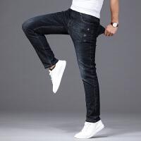 2019新款夏季弹性修身薄牛仔裤男士直筒30青年男式休闲裤子