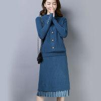 上衣+裙子两件套秋冬季女装ins套装毛衣女针织打底衫连衣裙过膝潮