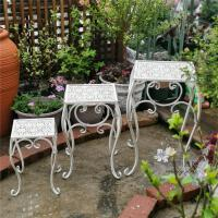【限时抢购,全店七折】美式复古铁艺花凳三件套 花园园艺阳台层次阶梯花架 盆栽装饰花托