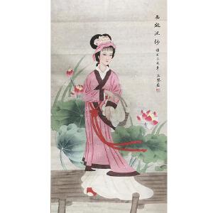 中美协会员,中国工笔画学会会员,河南省青联常委赵上慧四大美女(西施涴纱)86