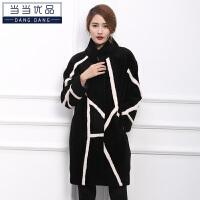 当当优品 女士皮草 羊剪绒外套 中长款 时尚羊毛大衣W1715黑色 M