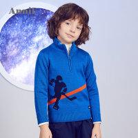 【2件45折:180】安奈儿童装男童冬季新款提花半开领毛衣