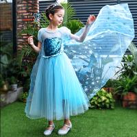 夏季冰雪奇缘爱莎公主裙女童艾沙公主连衣裙表演生日礼服装ELSA裙
