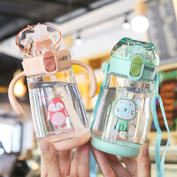夏季可爱儿童背带吸管水杯幼儿园便携一杯两用水壶宝宝手柄学饮杯