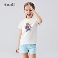 【抢购价:39.9】迪士尼女童T恤2020夏季新款安奈儿童装洋气中大童T恤上衣宽松短袖