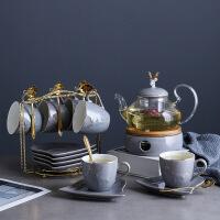 英式北欧风陶瓷玻璃花茶具套装煮水果花茶壶下午茶茶具蜡烛可加热