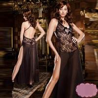 性感情趣内衣女式长裙夜店透明露背制服真人大码蕾丝性感度诱惑套装 黑色