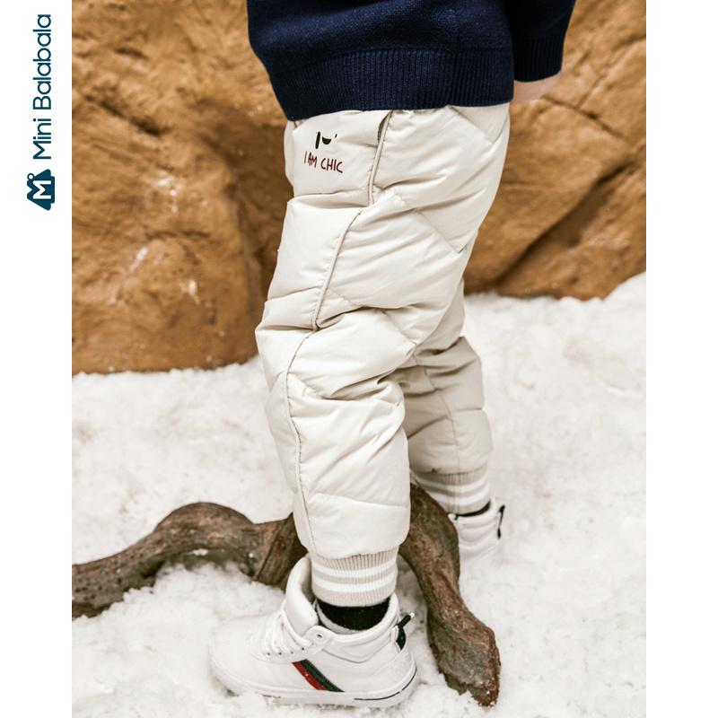 【4折价:120】迷你巴拉巴拉儿童长裤鹅绒长裤2019冬装新品男女童裤子运动羽绒裤