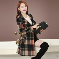 格子毛呢外套女中长款韩版修身显瘦立领呢子大衣秋冬大码风衣